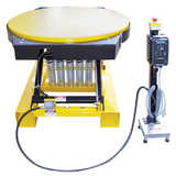 Low profile electric pallet lift tables mha products for Large motorized rotating platform