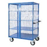 Mesh Cage Trolley (With Timber Shelves)
