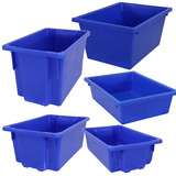 Blue Plastic Stack & Nest Crates