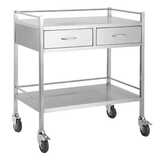 Stainless Steel Instrument Trolley - With 2 Drawers Side by Side