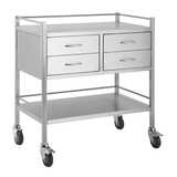 Stainless Steel Instrument Trolley - With 4 Drawers Side by Side